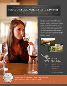 Early Mountain Vineyards print ad design