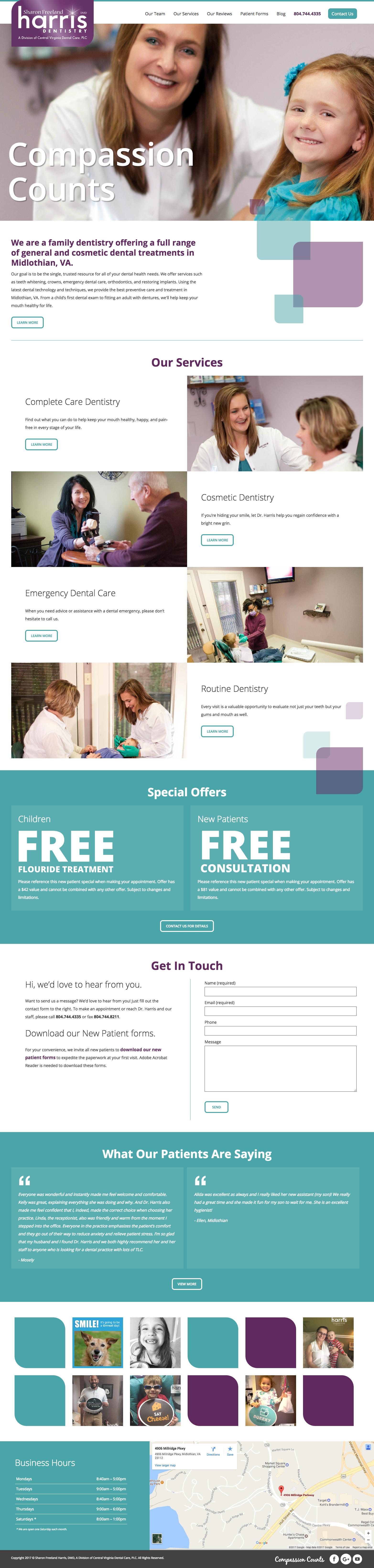Website Design for Sharon Freeland Harris Dentistry