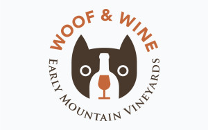 Early Mountain Vineyards Woof & Wine logo design