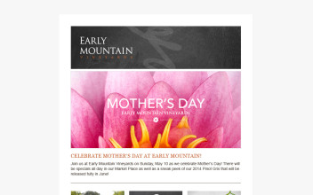 Email Newsletter Design  for Early Mountain Vineyards