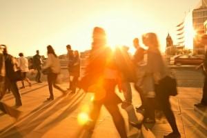 Business Commuters Walking Home After Work, Sunset Backlit