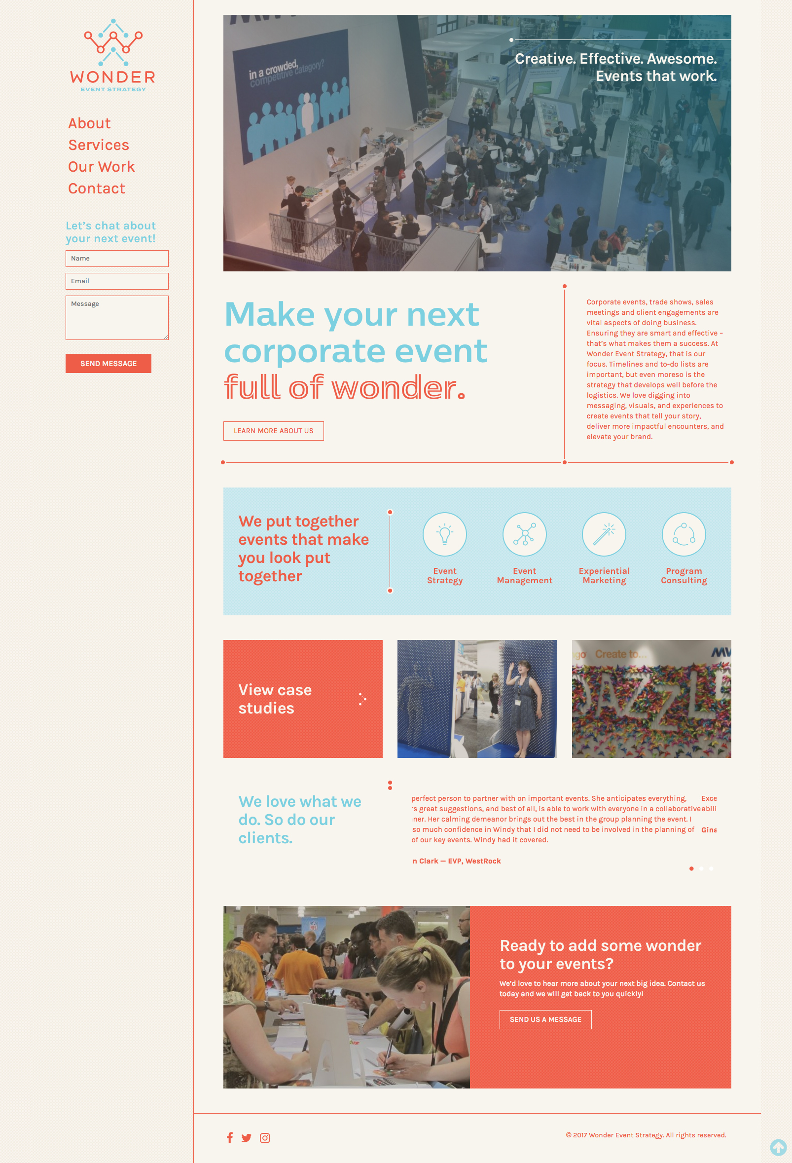 Website Design for Wonder Event Strategy