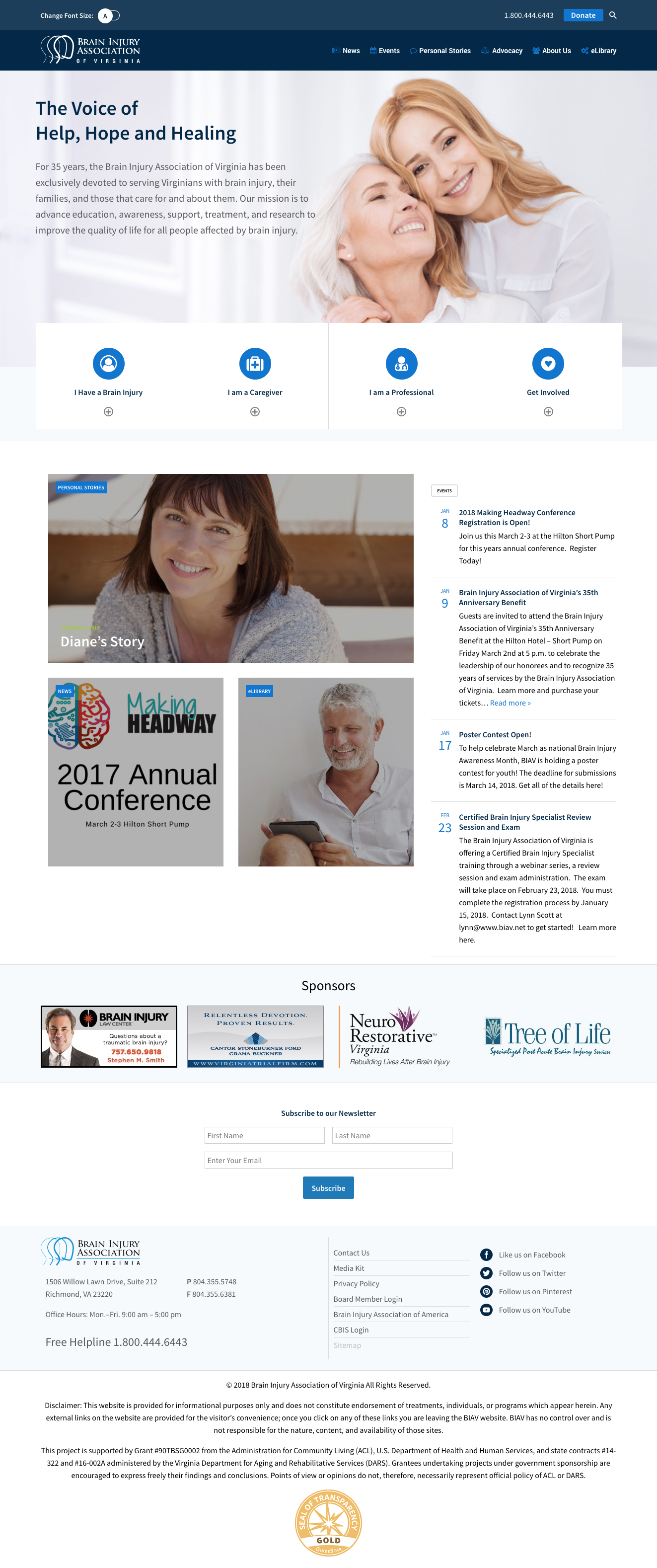 Website Design & Development for Brain Injury Association of Virignia