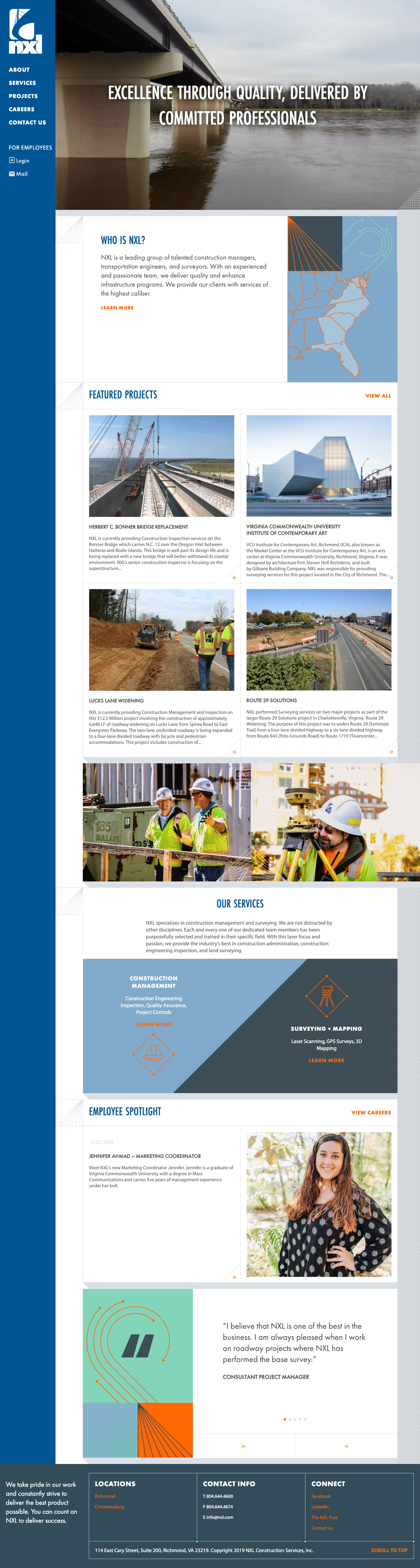 Website Design & Development for NXL Construction Services
