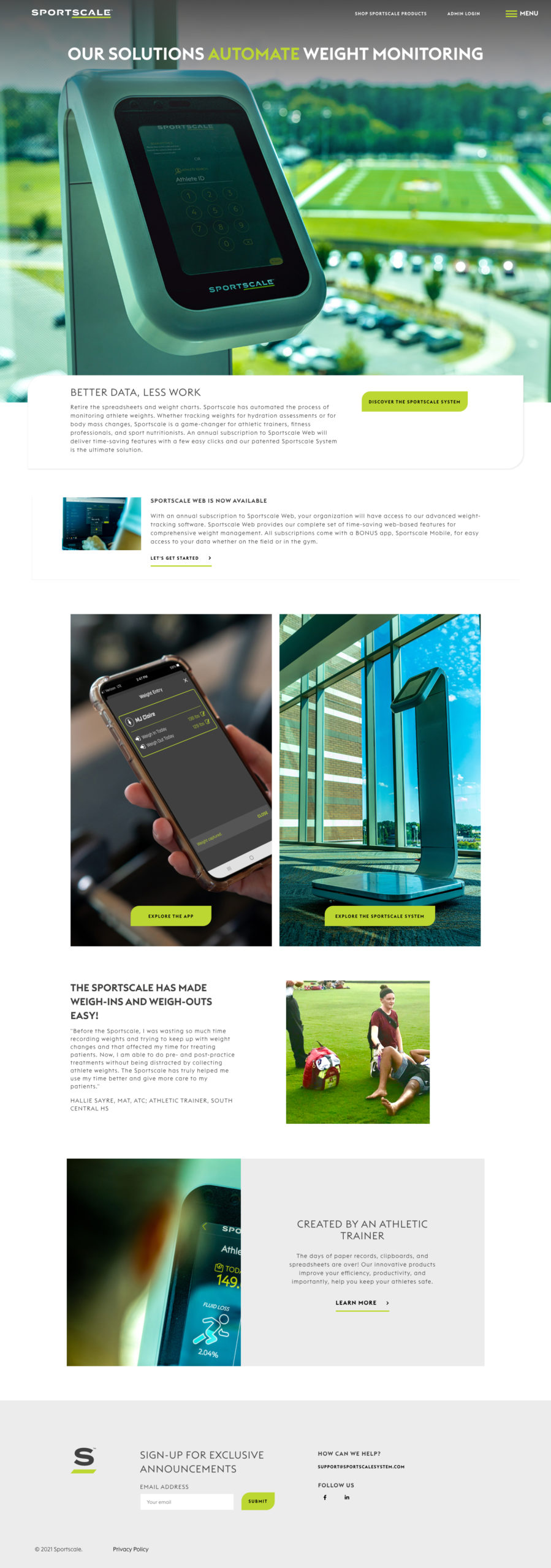 Website Design and Development for Sportscale Systems